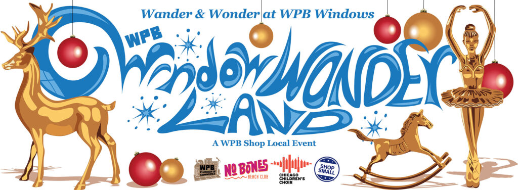 Wicker Park Bucktown Window Wonderland logo featuring gold and red colored holiday decorations for Shop Small Saturday
