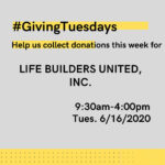 #GivingTuesday Life Builders United Donation Drive